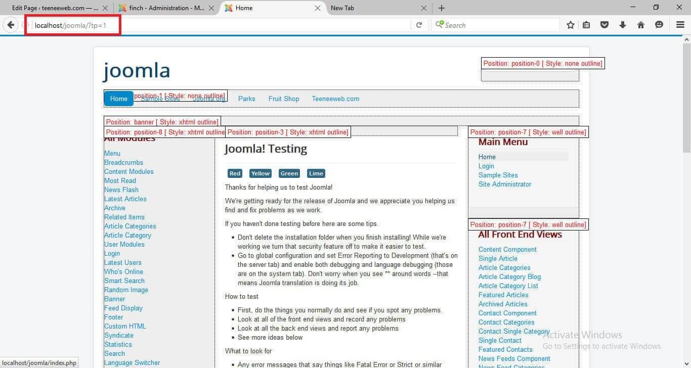 วิธีดูตำแหน่งโมดูลใน Joomla3 (Module Position Joomla3)