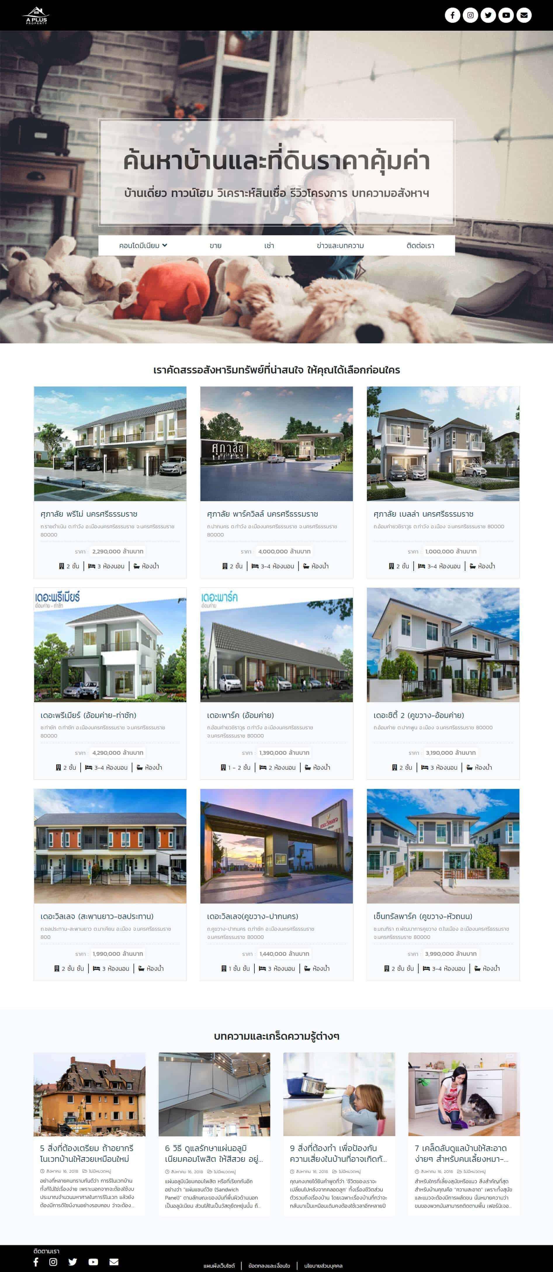 ค้นหาบ้านและที่ดิน | บริการรับทำเว็บไซต์ ออกแบบเว็บไซต์ teeneeweb.com