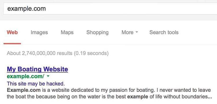 """เวลาค้นหาใน Google จะมีข้อความใต้โดเมนว่า """"This site may be hacked."""""""