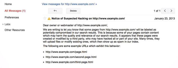 Google Web Master tools แจ้งเตือนว่าเว็บไซต์อาจจะโดนแฮก