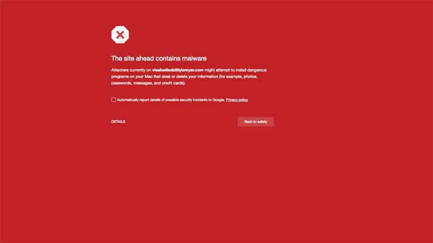 """เบราเซอร์ขึ้นหน้าสีแดง """"The site ahead contains mallware"""""""