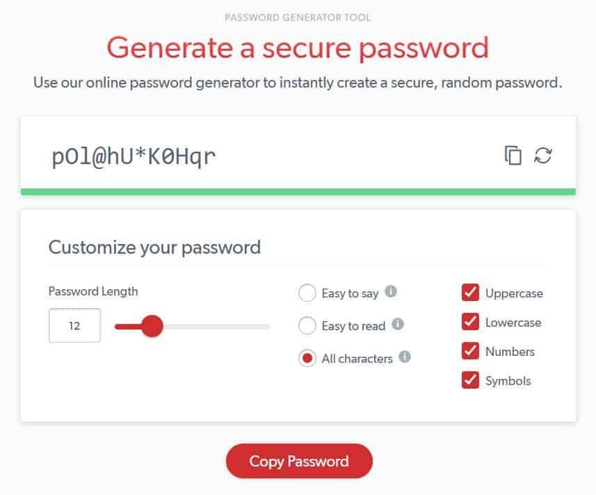 เว็บไซต์ LastPass ในการสร้างชุดรหัสผ่าน