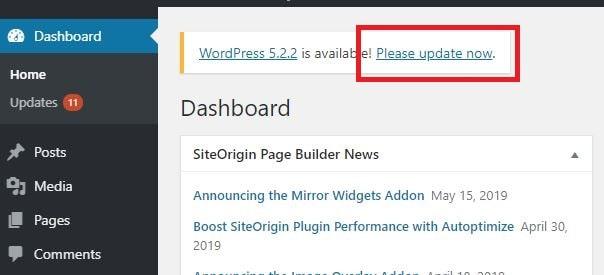 01 วิธีอัพเดต WordPress