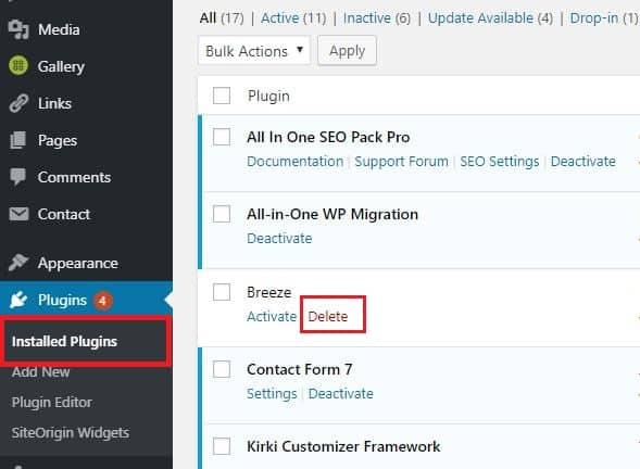 วิธีถอน Plugin WordPress