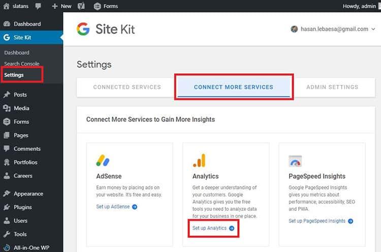 Google Site Kit เชื่อมต่อกับ Analytics