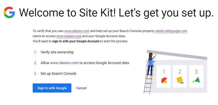 Google Site Kit เชื่อมต่อกับ Google Account