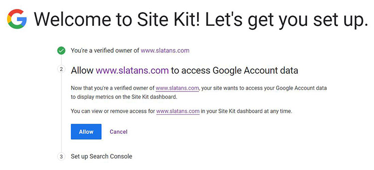 Google Site Kit Allow